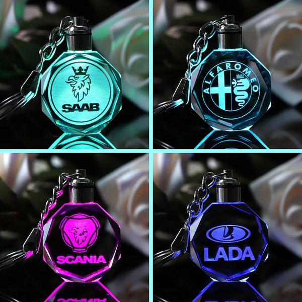 Famous or Custom Car Logo Crystal Crafts With Changing Colorful LED Light Laser Engraved DIY Car Key Chain Home Decor Boys Gifts