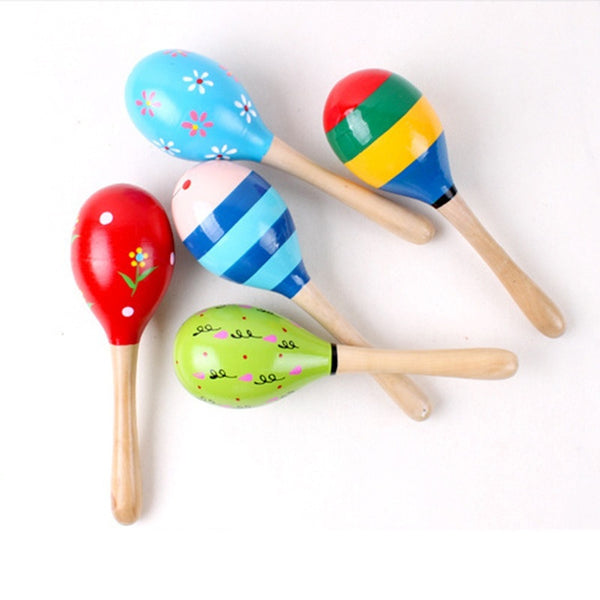 1PC Cute Baby Kids Sound Music Gift Toddler Rattle Musical Wooden Colorful Toys