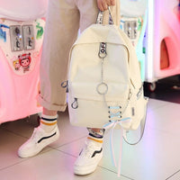 Fashion big capacity shopping bag laptop backpack rucksack canvas bags student mochila womens school Bags