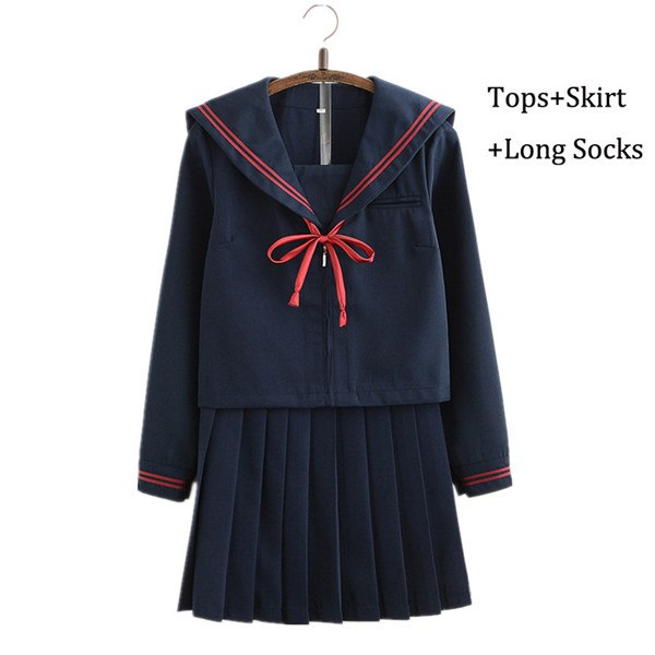 2018 Autumn Japanese School Uniforms For Girls Cute Long-length Sailor Tops Pleated Skirt Full Sets Cosplay JK Costume Series