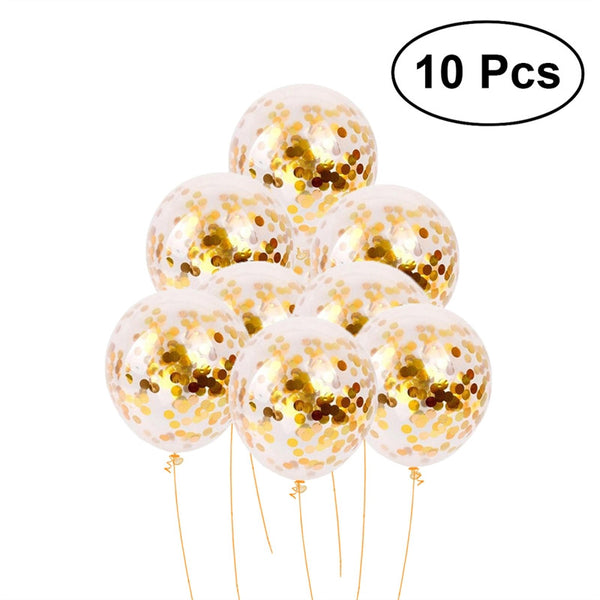 10 Pcs 12 Inch Golden Sequins Confetti Balloons Colorful Latex Party Balloons for Thanksgiving Christmas Wedding Festivals Birthday Baby Shower Party Decorations (Transparent)