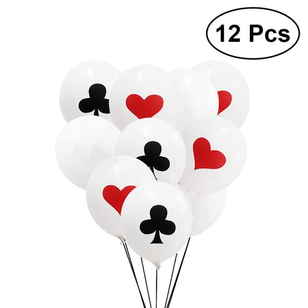 12pcs 12inch Poker Balloon Decorative Latex Playing Cards Balloon Party Supplies for Birthday Poker Party Bar Special Events