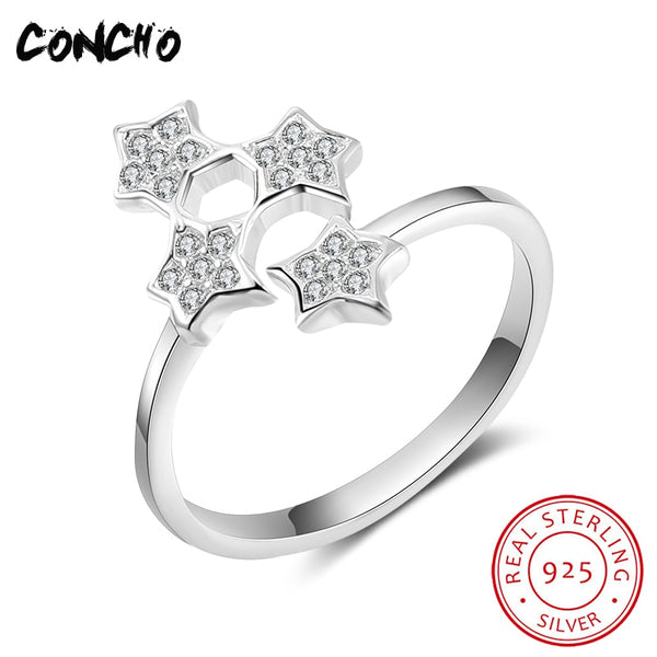 2018 New Special Offer Bands Party Anel Feminino Concho Jewelry 925 Sterling Silver Star Open Rings For Women