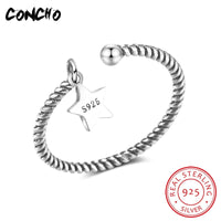 2018 Direct Selling Sale Bands Party Classic Anel Feminino Concho Jewelry 925 Sterling Silver Star Rings For Women