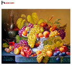 Huacan Fruit Diamond Embroidery Kitchen Wall Decor Rubik's Cube Square Diamond Painting Crystal Mosaic Picture of Rhinestone