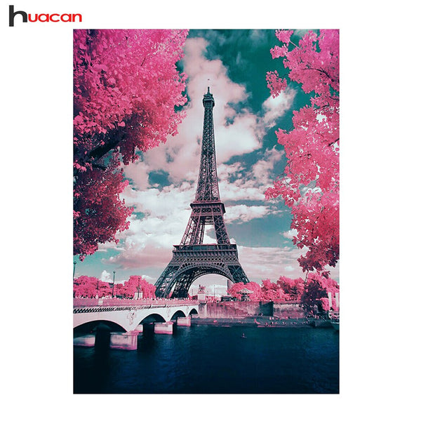 Huacan Diamond Painting Embroidery Landscapes Pictures Of Rhinestones Cross Stitch Kit Diamond Mosaic Paris Craft