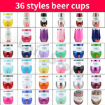 Swig Cups 9OZ Egg Shaped Cup 304 Stainless Steel Swig Tumber Mug with Lid Wine Beer Cup Vacuum Thermos Rose gold  Dropshipping