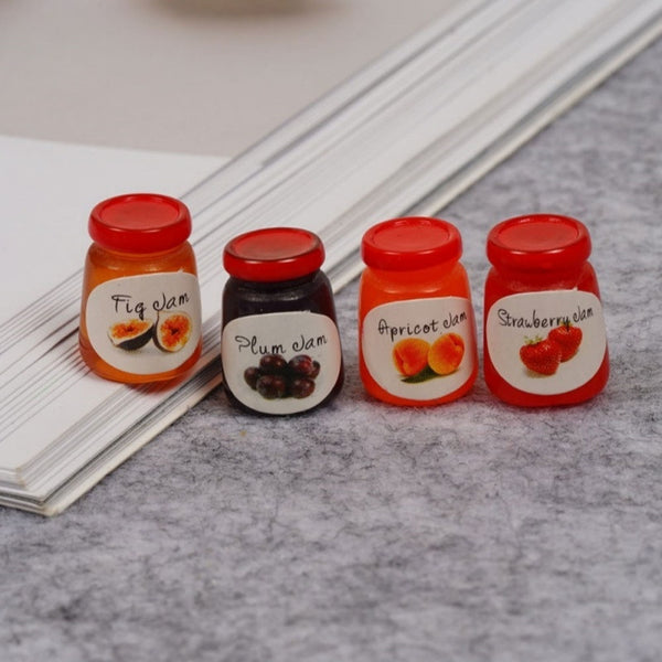 4Pcs Dollhouse Miniature 1:12 Kitchen Food Jam Coffee Condiment Random DIY Decor