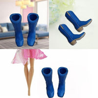 1 Pair Blue High Heels Boots Shoes for Doll