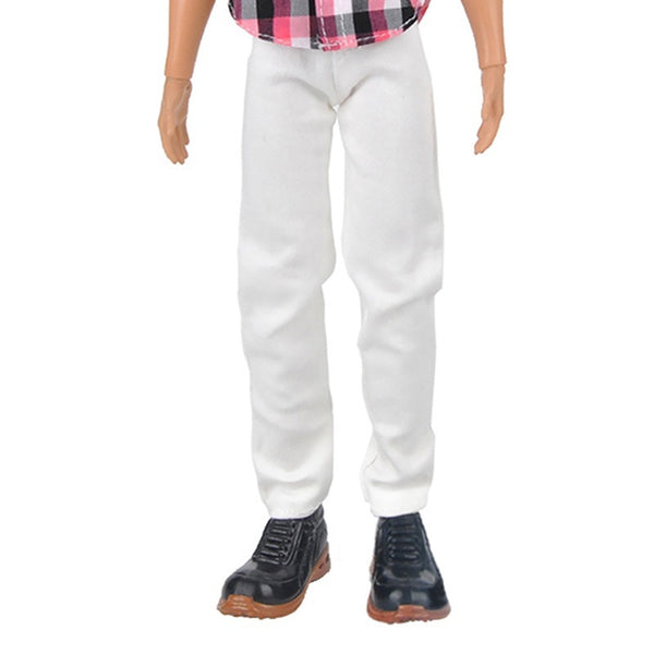 Doll Casual Clothes Plaid Shirt + White Pants for Ken Doll