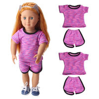 2Pcs Sport Wear Handmade Doll Clothes Top+Pants for 18  American Girl Doll