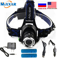 CZK15 6000LM T6  L2 Led Headlamp Zoomable Headlight Waterproof Head Torch flashlight Head lamp Fishing Hunting Light