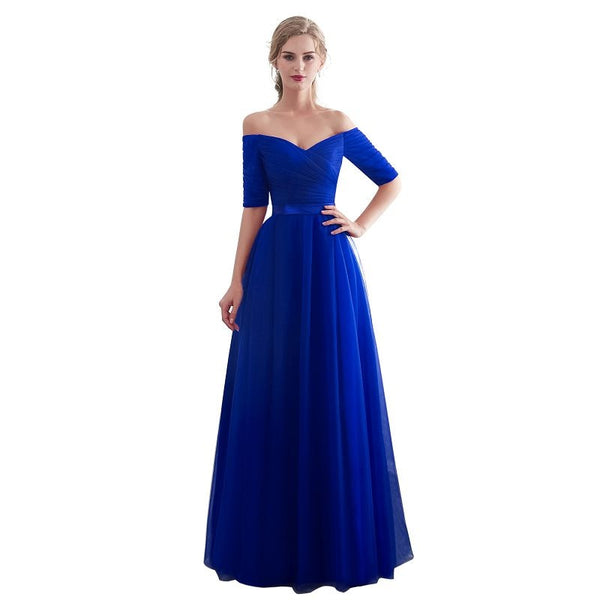 Beauty Emily Royal Blue Bridesmaid Dresses 2018 Chiffon Long A-Line Sleeveless Wedding Party Prom Girl Dresses party dress