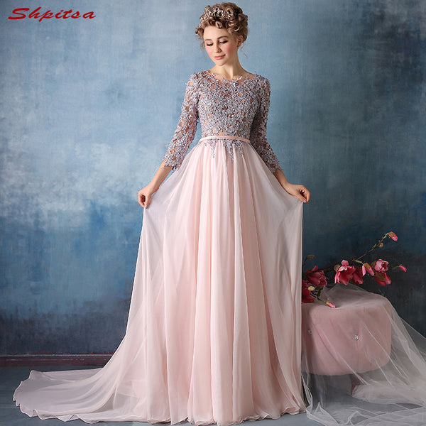 Pink Long Sleeve Mother of the Bride Dresses for Weddings Lace A Line Evening Groom Godmother Dresses