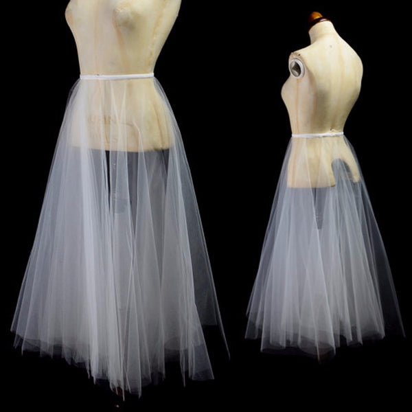Simple Bridal Detachable Train Just 2 Layer Tulle A-line Long Tutu Wedding Dress Parts Cheap Custom Made Robe De Mariee
