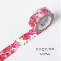 7M Cute Kawaii Flowers Leaf Washi Tape Colorful Decorative Adhesive Tape DIY Masking Tape For Decoration Dairy Scrapbooking