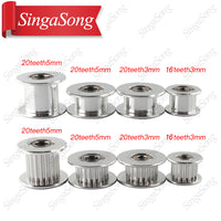 5pcs GT2 Idler Timing Pulley 16/20 Tooth Wheel Bore 3/5mm Aluminium Gear Teeth Width 6/10mm 3D Printers Parts For Reprap Part