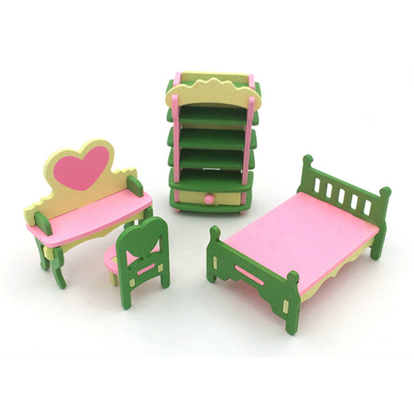 Baby Play House Kitchen Wooden House Kitchenware Furniture Miniature Accessories Children's Day Gift