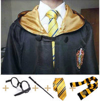 Robe Cape with Tie Scarf Wand Glasses Ravenclaw Gryffindor Hufflepuff Slytherin Hermione Costumes for Harri Potter Cosplay