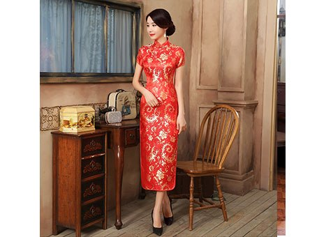 Chinese Traditional Cheongsam Women's Silk Satin Red Phoenix Long Dress