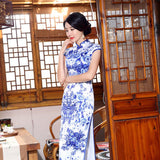 White Blue Vintage Print Chinese Traditional Women Satin Dress Sexy Long Slim Mandarin Collar Qipao New Flower Cheongsam S-3XL