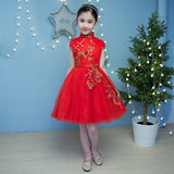 Girl Lace Princess Dress Chinese Traditional Kids Cheongsam Children Kindergarten Dance Red Flowers Qipao New Year Party Dresses