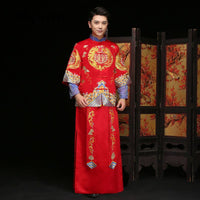 Groom Vintage Loose Cheongsam Traditional Chinese Wedding Gown Red Satin Qipao Embroidery Dragon Costume Vestido Oriental Mens