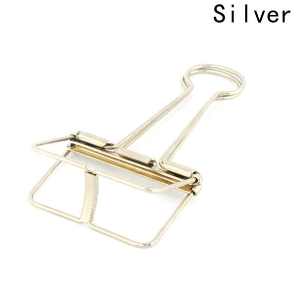 Novelty Solid Color Hollow Out Metal Binder Clips Notes Letter Paper Clip Office Supplies