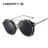 MERRY'S Women Steampunk Round Sunglasses Flip Separable Lens Mirror lens/Clear lens Vintage Glasses UV400