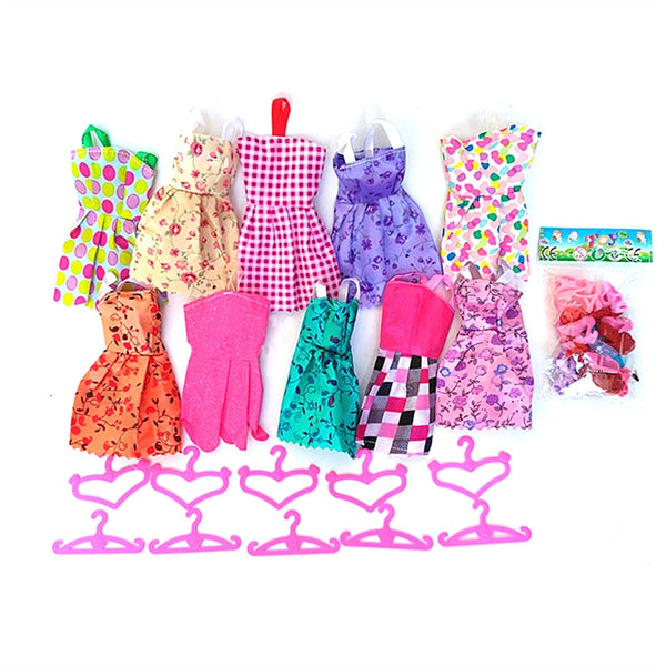 30Pcs Quality Fashion Barbie Dolls Clothes Set Barbie Accessories Include 10 Skirts 10 Hangers 10 Pairs of Shoes Kids Girls Birthday Gift Christmas Gift