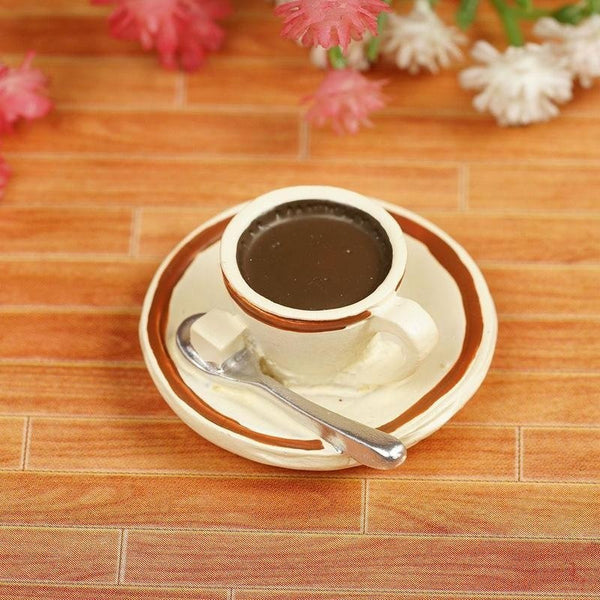 1/6 Resin Food Toy Mini Coffee Cup with Tray for DIY Dollhouse Miniature