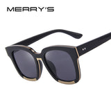 MERRY'S Women Sunglasses Acetate Frame Unisex Sun Glasses Classic Flat Coating Lenses With Box S'8005