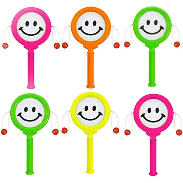 6PCs/set Infant Mini Rattle drum Smiley Face Hand Drums Pinata Toy Baby Toys Party Supplies Gifts(color shipped randomly)