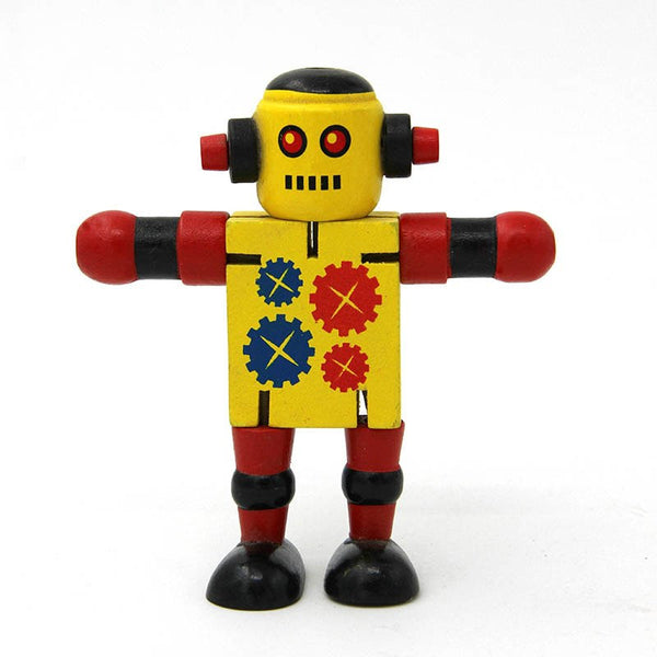 Novelty Wooden Robot Toy Learning Transformation Colorful Wooden  Newyears Present Joint Moved Deformation Robot Toys