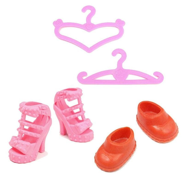 43 Pieces Doll Accessories Hangers Bags Shoe Earring Glasses for Barbie Dolls Dress Up Best Gift Packs Child Toys
