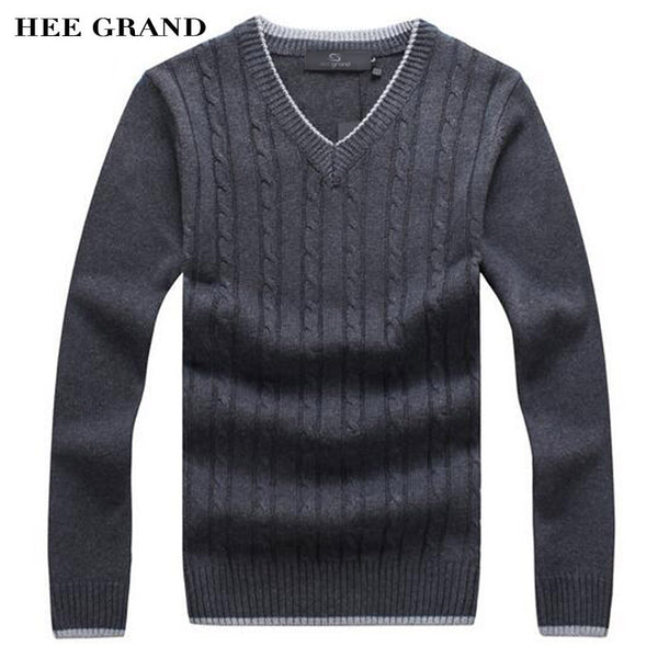 HEE GRAND Men Fashion Sweater V-Neck Thick Whole Cotton Windproof Twisted Pattern Warm Winter Pullovers Plus Size MZM480
