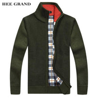 HEE GRAND Men Fashion Cardigan Stand Collar Coarse Wool Loose Style Zipper Late Autumn Winter Sweater 6 Colors Plu Size MZM483