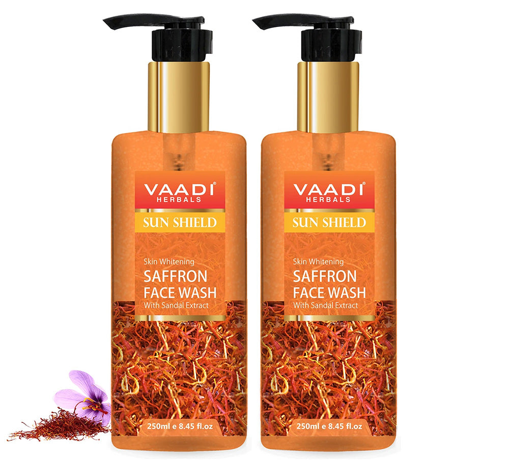 Pack of 2 Skin Whitening Saffron Face Wash With Sandal Extract (250 ml x 2)