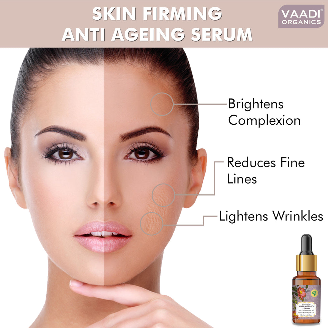 Vitamin E Anti Ageing Serum with Pomegranate Oil - Reduces Fine Lines, Lightens Wrinkles & Brightens Complexion (10 ml)