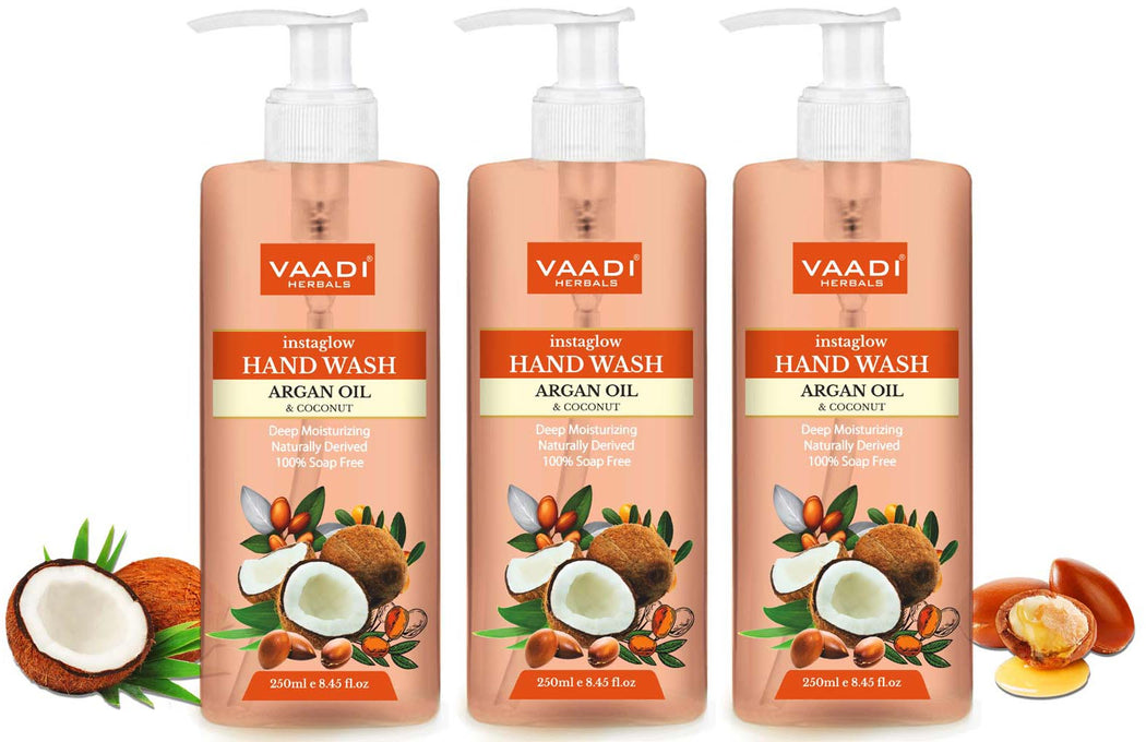 Pack of 3 Instaglow Argan Oil & Coconut Hand Wash (250 ml x 3)