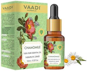 Chamomile Essential Oil - Reduces Blemishes, Evens Skin Tone - Relieves Stress, Better Sleep - 100% Pure Therapeutic Grade (10 ml)
