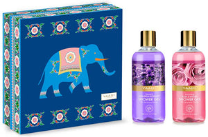 Exotic Floral Shower Gels Gift Box - Enachanting Rose & Mogra 300 ml & Heavenly Lavender & Rosemary 300 ml (Royal Elephant) ( 300 ml x 2 )