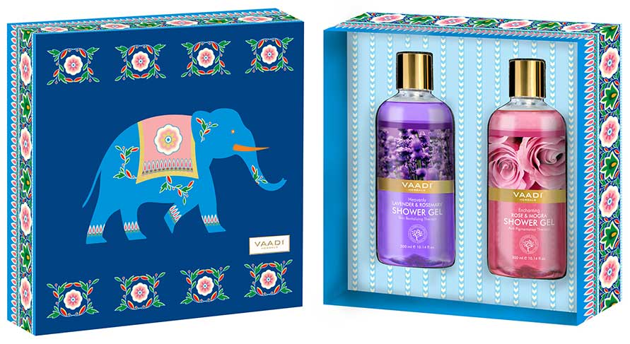 Exotic Floral Shower Gels Gift Box - Enachanting Rose & Mogra 300 ml & Heavenly Lavender & Rosemary 300 ml ( 300 ml x 2 )