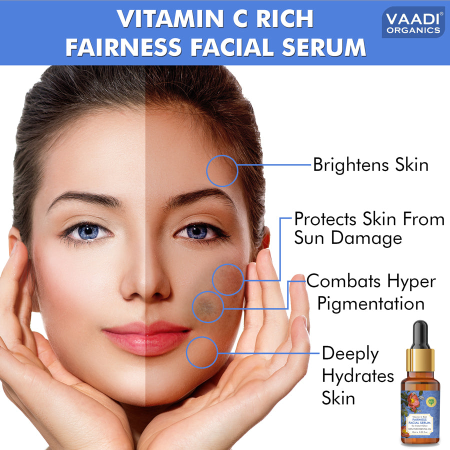 Vitamin C Fairness Facial Serum - Brightens Skin, Lightens Complexion, Protects from Sun Damage (10 ml)