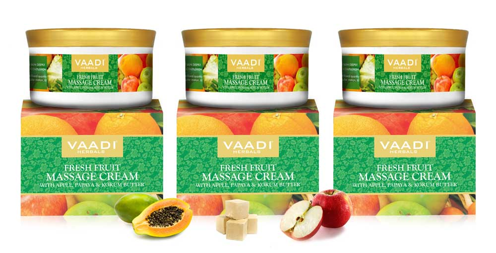 Pack of 3 Fresh Fruit Massage Cream with Apple, Papaya & Kokum Butter (150 gms x 3)