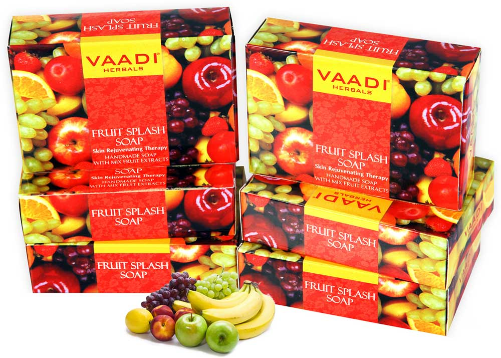 Pack of 6 FRUIT SPLASH SOAP with extracts of Orange, Peach, Green Apple & Lemon (75 gms x 6)