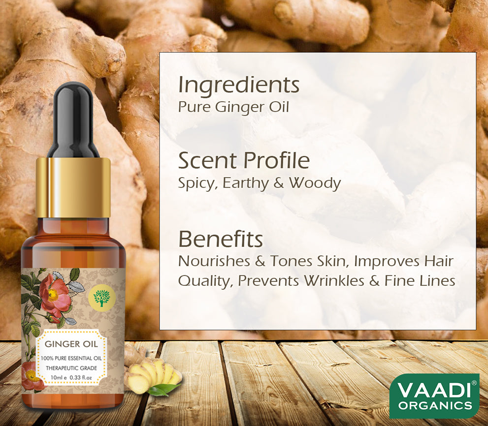 Ginger Essential Oil - Tones Skin, Prevents Hairfall, Soothing Woody Aroma - 100% Pure Therapeutic Grade (10 ml)