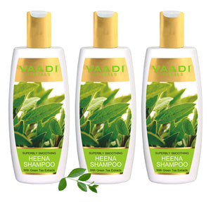 Pack of 3 Superbly Smoothing Heena Shampoo with Green Tea Extracts (350 ml x 3)