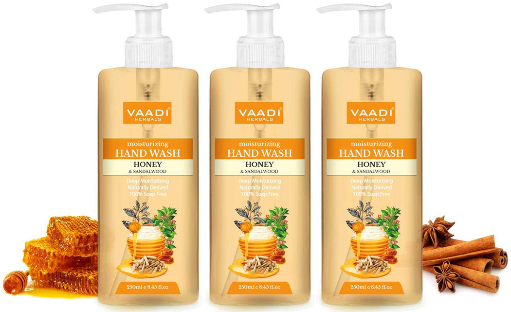 Pack of 3 Deep Moisturizing Honey & Sandal Hand Wash (250 ml x 3)
