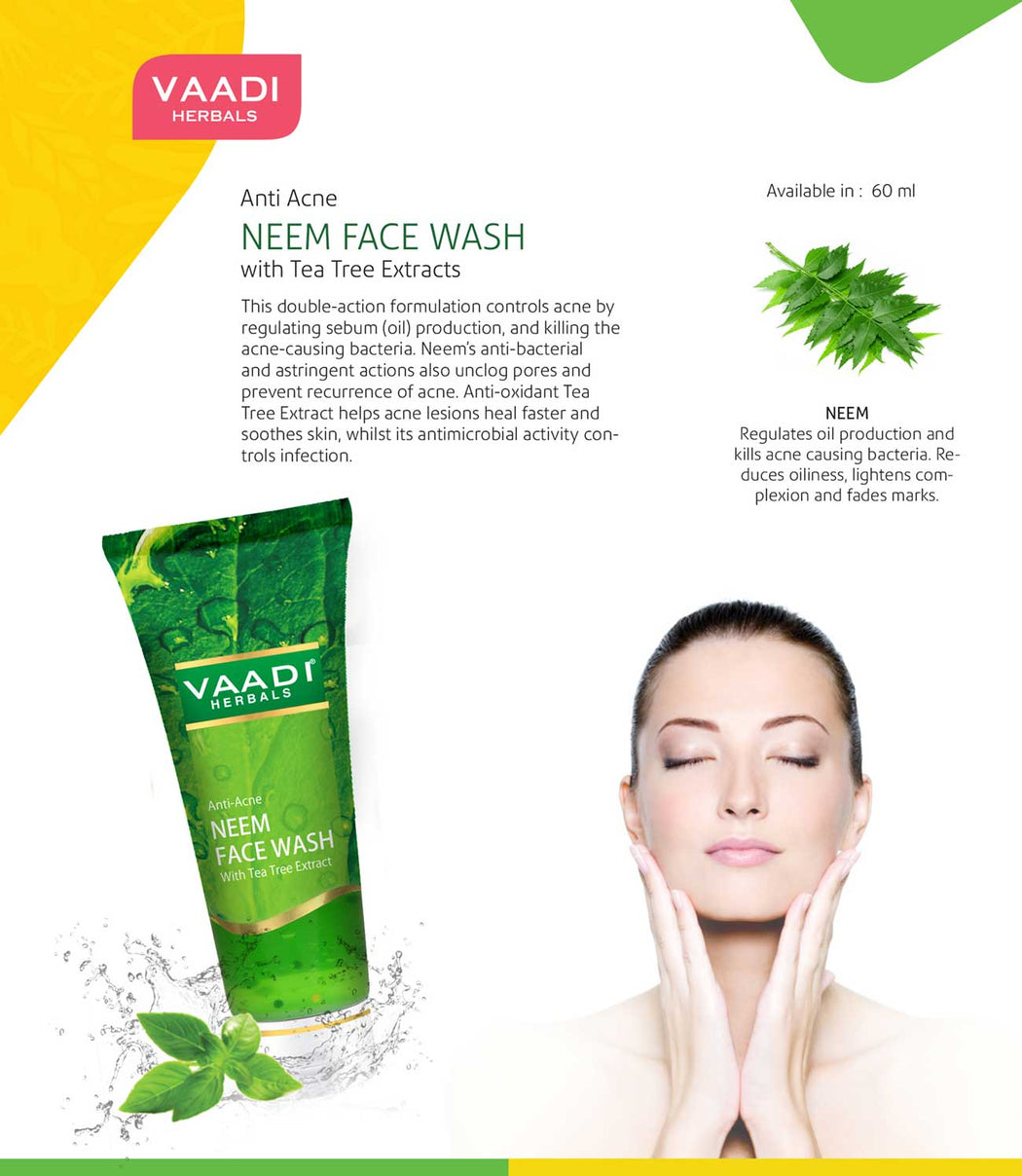 Pack of 4 Anti-Acne Neem Face Wash With Tea Tree Extract (60 ml x 4)